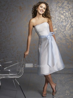 Lightskyblue Strapless A-line Satin/Organza Tea-length Cocktail Homecoming Dress