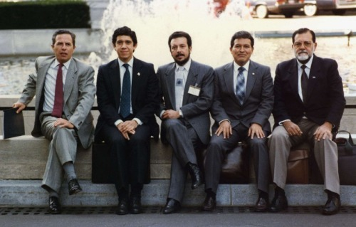 manincrisis:  FMLN signatories to the 1992 Chapultepec Peace Accords- the document that officially ended the Civil War of El Salvador. From left to right Eduardo Sancho (aka Fermán Cienfuegos), Joaquín Villalobos, Francisco Jovel, Salvador Sánchez Cerén, and Schafik Hándal