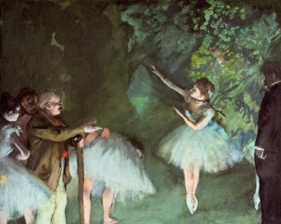 Edgar Degas, Ballet Rehearsal, 1875 Another spooky Degas painting, this work traps its subjects in a murky green abyss, using bright lighting to illuminate only the sides of their faces and bodies. The young ballerina in the center appears quite fragile—as if she could easily lose her balance while on point, and fall over. Her fragility is accentuated by the fact that she is being observed by frightful figures on either side. In this painting, as in many of Degas' works, the arts are portrayed as if they are a part of a dark and dangerous underworld filled with suffering, rather than sources of beauty and entertainment.