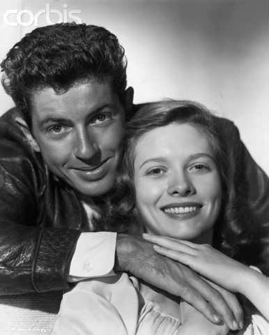 Farley Granger and Cathy O'Donnell promoting the movie They Live by Night, directed by Nicholas Ray.