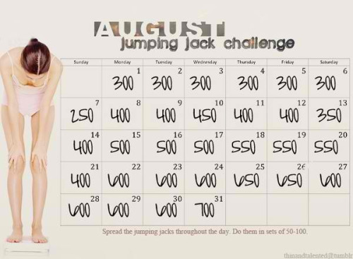 fitness-for-lifee:  lazygirlhealthandfitness:  Jumping jacks challenge!   Challenge accepted!