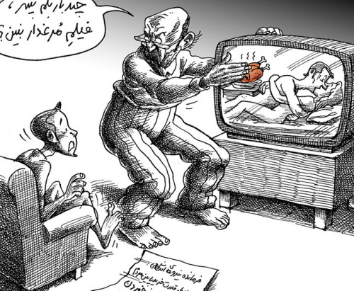 "Media blackout on chicken in Iran to prevent social upheaval July 23, 2012 Iran, a country rich in oil with no need for nuclear power, has nevertheless sacrificed Iranian delicacies like chicken to build nuclear plants. NOTE: This is not valid justification for America to invade and destroy millions more lives/inflict immeasurable suffering onto the Iranian people. After Iran's national Police Chief Esmail Ahmadi recently felt it necessary to address the nation's ""chicken crisis,"" public emotion has flown the coup, ultimately leading to the banning of televised images of people eating chicken, according to a Rueters report. The soaring price for the culinary common that Iranians relish cooked with saffron, plums or pomegranates has become a simmering public debate, as international nuclear sanctions take hold of the Iranian economy. Ahmadi urged television stations to avoid broadcasting images of people eating chicken, saying such pictures could fire up social tensions, with perhaps unforeseen consequences. ""Certain people witnessing this class gap between the rich and the poor might grab a knife and think they will get their share from the wealthy,"" Mehr news agency quoted him as saying. Apparently, one way of identifying ""the wealthy"" in Iran is too spot them enjoying some chicken nuggets prepared with saffron. As Iran's economy withers under erratic government management and international sanctions imposed over the country's disputed nuclear program, food and fuel prices have the public clucking increasingly louder over the past 18 months. As a reaction to Ahmadi-Moghaddam's words, Mana Neyestani, a leading Iranian cartoonist, published a cartoon on ""chicken story"" (above). The text in the cartoon depicts a father scolding his son, saying:  ""How many times have I told you not to watch a film with chicken in it.""  Photo source Source"