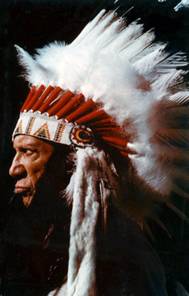 Picasso wearing the  Native American headdress given him by Gary Cooper, 1960.