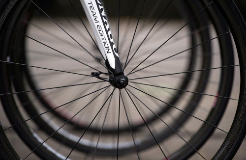 The wheel of a bicycle of France's Europcar cycling team prior to the start of a training session around Liege, Belgium, on June 29, 2012, the eve of the start of the 2012 Tour de France. (Lionel Bonaventure/AFP/Getty Images) (via The 2012 Tour de France, Part 1 of 2 - In Focus - The Atlantic)