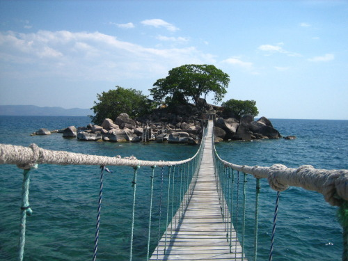 visitheworld:  A rope bridge connecting Kaya Mawa Lodge to its Honeymoon Island, Malawi.  // ]]]]>]]>