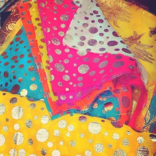 Fabric shopping, neon chiffon polka dots anyone? #neon #fabric #chiffon #diy #shopping  (Taken with Instagram)
