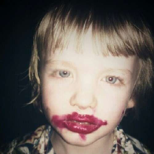 """mummy I put lipstick on"" D: (Taken with Instagram)"
