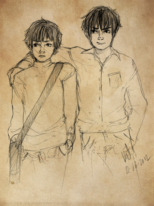 Moony and Padfoot…as in very young Moony and Padfoot (/ ; O ; )/ alltheHPfeelingsALLofthem