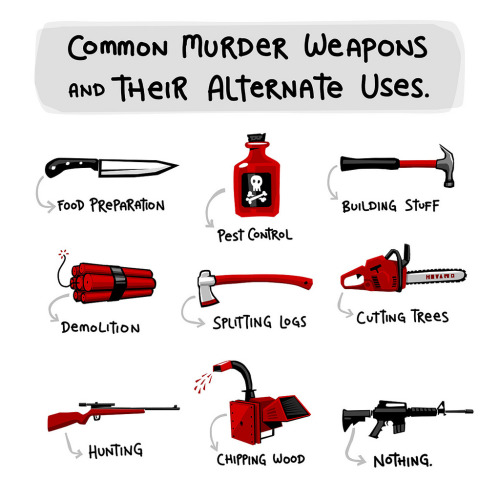 heyoscarwilde:  Common murder weapons and their alternate uses. illustration by Theron Parlin :: via lunchbreath.com