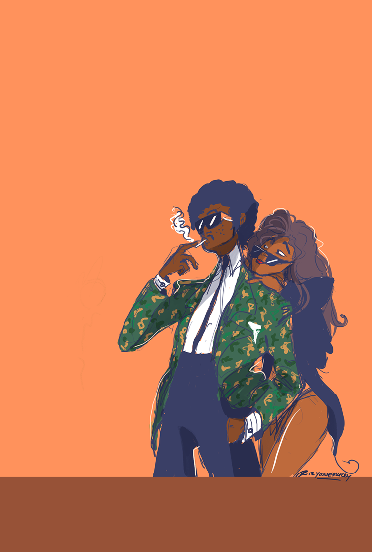 I have a fascination for Morris Day and Vanity. Just a super quick colour sketch thingy.