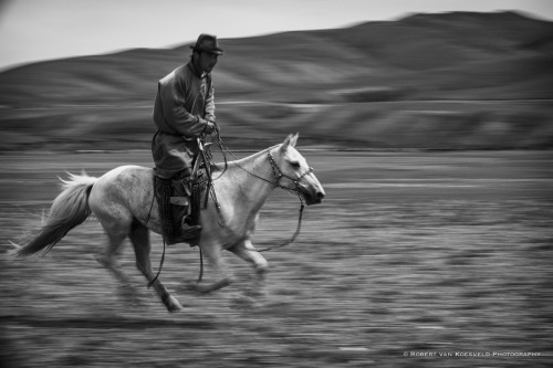 Mongolia 05 There is a special sense of fit between the rider, the horse and the landscape in Mongolia. As if all three take pleasure in their connections. This is a panned image at 1/30 sec which has allowed the background to blur, the movement to show in the horses legs but some of the horse to be quite sharp. Choosing a shutter speed for this kind of image is experimental as lens type, speed of movement, angle of movement and distance from the photographer all are factors. Still 1/30 sec is often a good starting point. I will usually use a short burst in the middle of a long pan and will often prefocus. Series Link