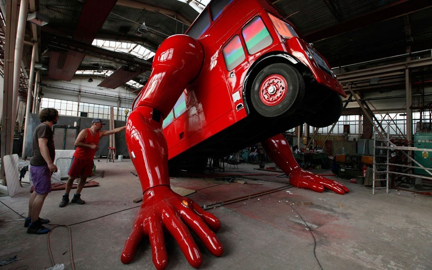 Czech artist David Cerny has designed a double-decker bus that, yes, does pushups.  It will be installed at Czech Olympic headquarters in London during the Summer Games and will participate in the country's swimming and handball teams. (Photos: Petr Josek / Reuters via The Telegraph)