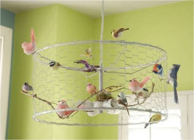 scissorsandthread:  Bird Chandelier | Daily Danny This DIY is blowing up on Pintrest right now, but for y'all that aren't on there here it is for you! So simple to create yet so creative, all you need is an old lampshade and a bunch of faux birds (sorry, it doesn't work with real birds - they don't sit still for long enough) I especially like the little bit of greenery in there. If you don't have a hanging light, don't let that stop you from making this - it would be great to have above your bed or dinner table. Make sure to check out the rest of the article with the makeover. It's amazing!