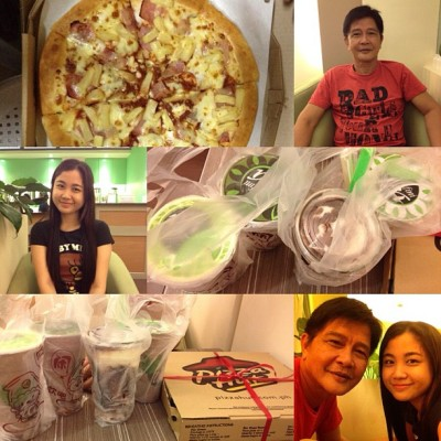 Me and my poging daddy a while ago. Hihi! Brought home some pizza & infiniTEA. Yum! Ü #igersbatangas #igersasia #selfportrait #happy #smile #food #instamood #instalove  (Taken with Instagram)