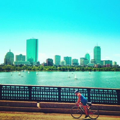 Boston By Bike #bike #iphoneonly #4s #athlete #bicycle #cyclist #summer #fun #boston #massachusetts #boats #sails #sailboat #harbor #skyline #city  (Taken with Instagram at Boston, MA)