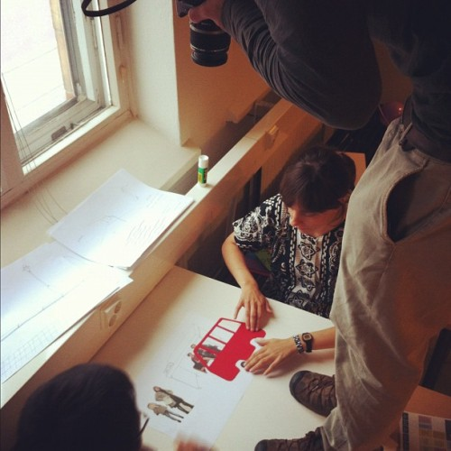 The @pidginperfect @wastelands2012 students making stop motion animations for their exhibition at the @wdchelsinki2012 Pavilion tomorrow… :) #helsinki #finland #animation #architecture #creativity #redbus #easa012 #wastelands #ruinporn  (Taken with Instagram at Nuorten Toimintakeskus Happi)