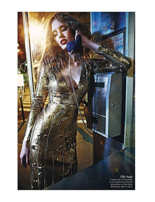 'Call Me Maybe?' Nadja Bender in ELIE SAAB Fall 2012-13 Ready-to-Wear shot by Mario Sorrenti and styled by Marie Chaix for the August issue of Vogue Paris.