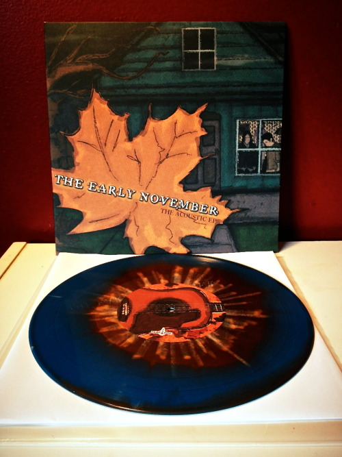 "1recordaday:  The Early November - Acoustic EP (blue/bronze swirl with bone splatter /200)  They say good things come to those who wait, and in this case the saying is completely true. I had missed out on this wonderful EP during the original release from ""Enjoy The Ride Records"" and couldn't find it for less than $50, anywhere, after it was sold out. Thankfully modern-vinyl.com was running a contest a week or so ago, and I won! So as of right now this completes my TEN collection and I am stoked about that.  ""The Acoustic EP"" proves that ace enders and company can really do anything within their genre and make the product sound terrific, taking a few harder tracks and completely stripping them down into beautiful acoustic renditions, and releasing it was a brave act at the time of its original release. This is a perfect record to spin when I want my TEN fix but I'm not in the mood to ""rock the fuck out."" Hopefully one day ETR will re-press this so all that don't have it can enjoy it on one of the best formats. As cliche as it sounds, everything just pops when played on wax and this record is no different.    Just so everyone knows, I am moving across the country in a three weeks and won't be able to do my normal updates for a while. I am trying to come up with something to hold you over so this blog isn't completely dead during my move. Enjoy your monday, everyone!"