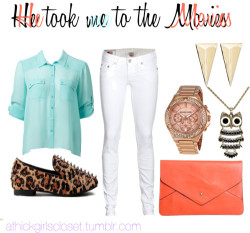 He took me to the Movies by athickgirlscloset featuring an owl necklace