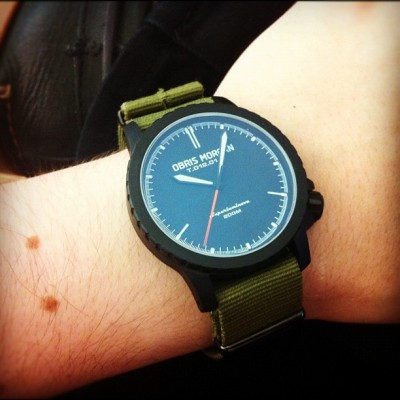 Obris Morgan Branco PVD on a green NATO w/black hardware. #womw (Taken with Instagram)
