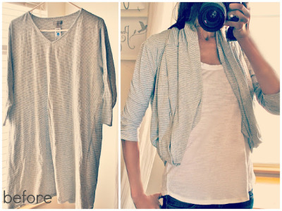 littlecraziness:  (via Trash To Couture: Oversized Shirt to Bubble Cardigan)