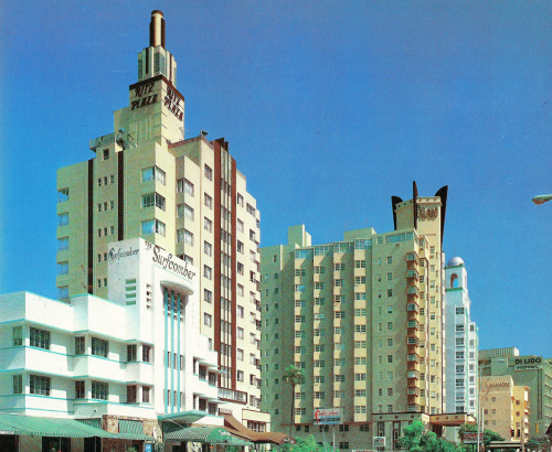 Hotels, Miami Beach, FloridaFrom Tropical Deco High-rise hotels. From the book:  Collins Avenue at 16th Street  Here it is on Google Street View.