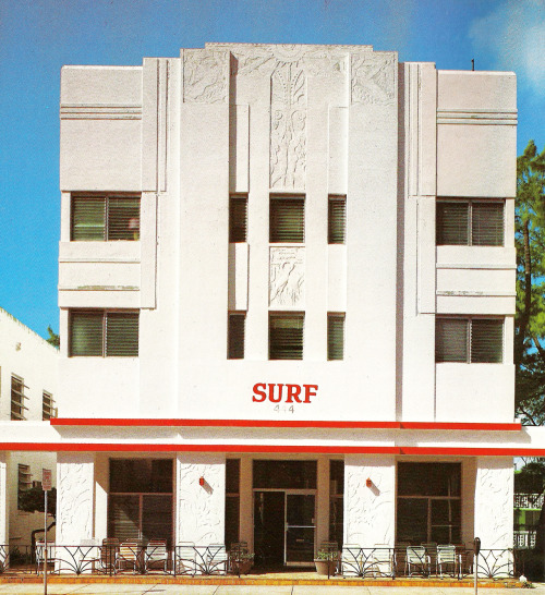 decoarchitecture:  Surf Hotel, Miami Beach, FloridaFrom Tropical Deco These days hotel has a better paint job than when this photo was taken in the early 80s. From the book:  Surf - 444 Ocean Drive  Here it is on Google Street View.