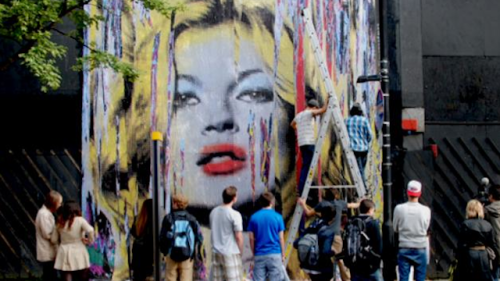 artnet:  Mr. Brainwash Mural in London Street artist Mr. Brainwash produced this massive mural of Kate Moss on London's Oxford Street. The brightly colored work was created to promote his debut London exhibition, which will open at The Old Sorting Office on August 5, 2012.