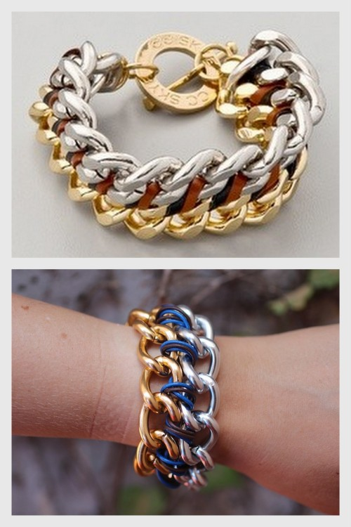 DIY CC SKYE Inspired Natalie Bracelet Tutorial from stripes + sequins here. Top Photo: $94 CC SKYE Natalie Bracelet here, Bottom Photo: DIY by stripes + sequins. Links for all the materials used which you know I love. I've been seeing lots and lots of mixed metal jewelry recently. *For more chunky chain jewelry go here: truebluemeandyou.tumblr.com/tagged/heavy-chains