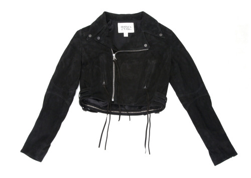 Holmes & Yang, Suede Motorcycle Jacket in Black available at Forty Five Ten.