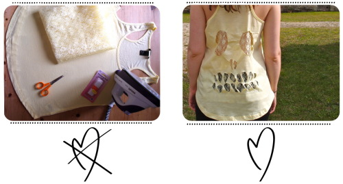 DIY No Sew Lace Cut Out Skull Tee Shirt Tutorial from Cones 'N' Clowns here. This makes it easier to wear a bra under it.