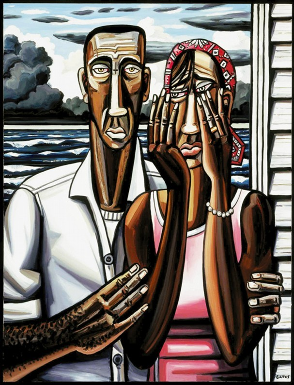 "David Bates | The Katrina Paintings ""The Flood,"" oil on canvas, 86"" x 64"", 2006-07; Collection of Lillian W. and Katherine E. Albritton, Dallas, Texas.  While Bates minimizes the hot-button issue of discrimination by highlighting the individual experiences of the Katrina disaster, he doesn't altogether avoid it. For instance, the upside-down cross painted on the forehead of the male figure in The Flood hints at a loss of faith, but Bates neither validates nor ignores that sentiment. The strength of the exhibition lies in the artist's ability to set aside any personal agenda. As a result, he creates a body of work that deals more with universal themes related to humanity than muddy politics.  -""David Bates: The Katrina Paintings"""