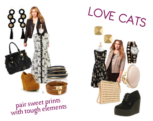 Love Cats - a plus size polyvore set for autumn inspiration It's the hottest days of summer and of course I'm already looking forward to fall and fall fashion.  I saw these two sweet prints on eShakti and just had to put some ideas together for them.  Nothing like pairing a sweet print with some aggressive accessories. Plus shirt dresses (like the one on the left) are SUPER on-trend for this fall.  These looks could easily be worn still this summer with wedge sandals and a tote bag and easy jewelry.  I love that they will work perfectly for fall with a leather jacket and big jewelry too. As always, I've styled items keeping my own budget in mind (most items are significantly less than $100) - I hope you enjoy!   PS: That great light pink ASOS Curve jacket is currently on sale - snatch one up today!  Check out the LOVE CATS polyvore set for shopping details!    Dresseshakti.com  Studded jacketasos.com  Quilted jacketasos.com  Platform wedge$170 - office.co.uk  Lace up wedgemyhotshoes.com  Marc B tote bag$74 - topshop.com  Zara clutch handbagzara.com  Ring$12 - bijou-brigitte.com  LK Designs black jewelry$120 - pret-a-beaute.com  Jennifer Loiselle oversized earringsboticca.com  MICHAEL Michael Kors wrap braceletbloomingdales.com  Water resistant watchshopbop.com  Vince Camuto gold tone jewelrydillards.com  Big cat shirtdresseshakti.com