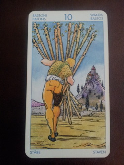Ten of Wands.  There is so much to do.  Be kind to yourself and do not carry guilt from today into tomorrow.  Every morning is a clean slate.  If you don't accomplish everything you set out to do today, forgive yourself at bedtime and wake up and start again.