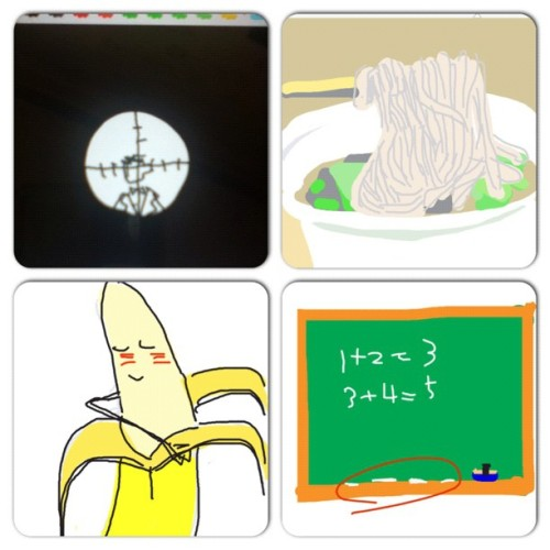 #instacollage #sniper #noodle #banana #chalk #drawsomething http://instagr.am/p/NbbNkOGf8x/