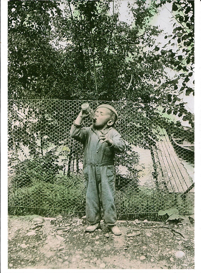 Jim Stedjee, age four, at Camp Minne Wonka, Three Lakes, Wisconsin, 1939-1940. Camp Minne Wonka on Virgin Lake in Three Lakes was the first private boys' camp in Wisconsin. It closed in 1943 after thirty-one years of service due to the demands of World War II.  via: Three Lakes Historical Society