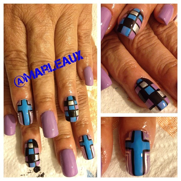#nailart Nails crossed and color-blocked. OPI Do You Lilac It and Orly Skinny Dip. #orly #opi #acrylicnails (Taken with Instagram)