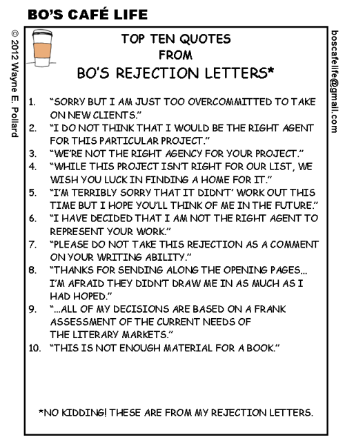 amandaonwriting:  Top Ten Quotes from Bo's Rejection Letters.