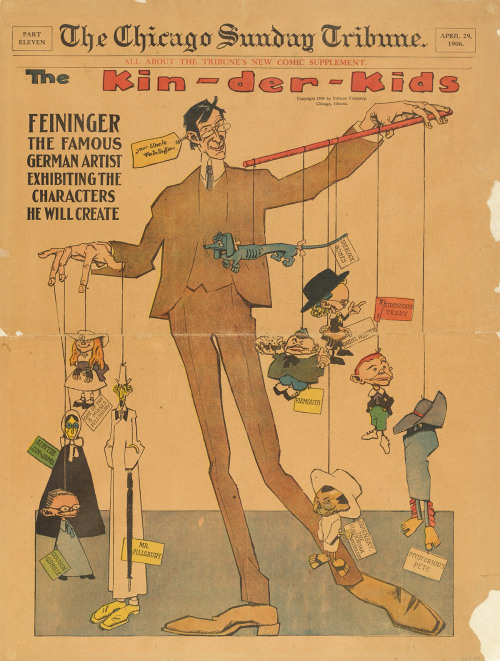 Lyonel Feininger. The Kin-der-Kids from Chicago Sunday Tribune. April 29, 1906 The modern mass-circulation comic appeared in Europe and the United States in the 1890s, but it wasn't until the twentieth century that comics and animation–two art forms initially created for children–began to have a profound impact on modern visual culture. Feininger and Winsor McCay, the two great illustrators of American comics in the opening decades of the twentieth century, conceived of the comic strip as full-page layouts with radical and inventive experiments in scale, sequence, and format. Learn more at MoMA.org/centuryofthechild