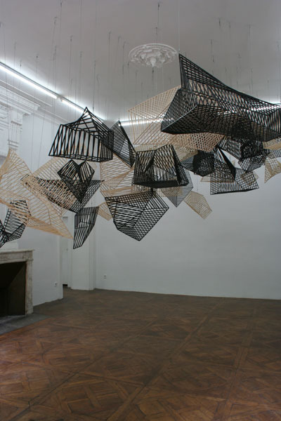 "Camille Henrot Les Cages 2009 Wooden and steel cages Variable dimensions ""Pour ne pas mourir deux fois"", Centre d'art Le Lait"