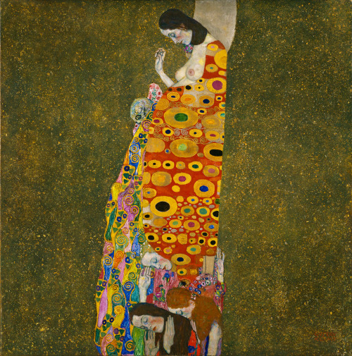 Gustav Klimt. Hope II. 1907-8 In Klimt's painting of a pregnant woman, the unborn child as an embodiment of hope is complicated by unsettling allusions to death in the form of a skull nestling on her belly. The anxiety suggested by this imagery mirrored the intellectual and aesthetic ferment of Vienna at the turn of the century, above all the emergence of psychoanalysis and Sigmund Freud's explorations of the child within every adult persona. The ornate decoration in Hope, II nearly overwhelms its surface. Klimt was committed to craftwork, and was among the many artists of his time who combined archaic traditions–here Byzantine gold leaf painting–with a modern psychological subject. Learn more at MoMA.org/centuryofthechild