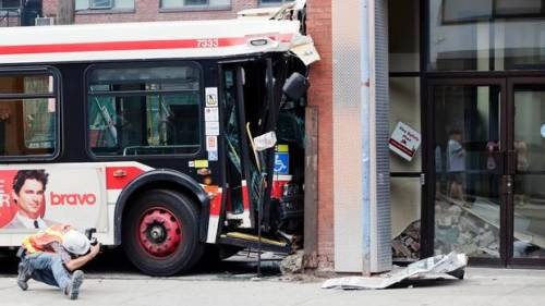 TTC bus crashes into Peter Street coffee shop