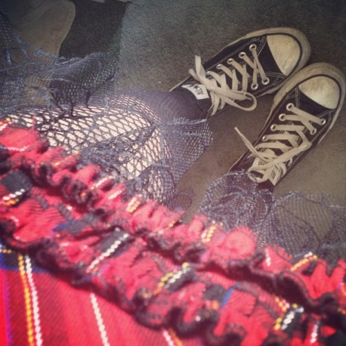 Always rocking converses with dresses. #dress #plaid #fishnets #stockings #converse #shoes #fashion #girl  (Taken with Instagram)