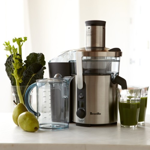 KEEP CALM AND KEEP JUICING   We two sexy veggies love juicing and we love our juicer! We have had many requested from you guys as to what juicer we use, so due to popular demand, here you go!   We use the Breville Ikon Juice Fountain Elite and it is amazing! You can select from five speeds to handle everything from delicate fruits to crispy vegetables. It has an innovative smart chip in its 900-watt motor automatically boosts power to the cutting disc under heavier loads, resulting in faster more efficient juice extraction. The juicer is normally $300 but is on sale at William Sonoma for $199.95. Please find the link below and keep coming back to two sexy veggies for different juicing recipes!   http://www.williams-sonoma.com/products/breville-ikon-juice-fountain-elite/?pkey=celectrics-breville