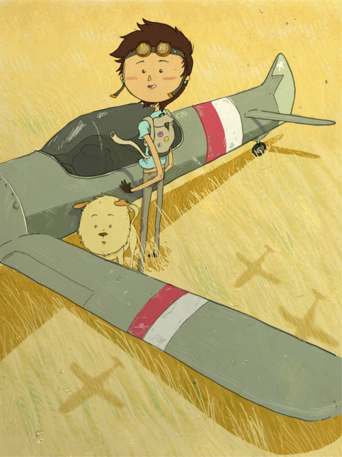 eatsleepdraw:  My dog, Luke, and I were once fighter pilots.  Personal blog // Art blog blog  I'm a sucker for illos featuring wildly imaginative children and their animal sidekicks, like this one of a girl and her tiger.