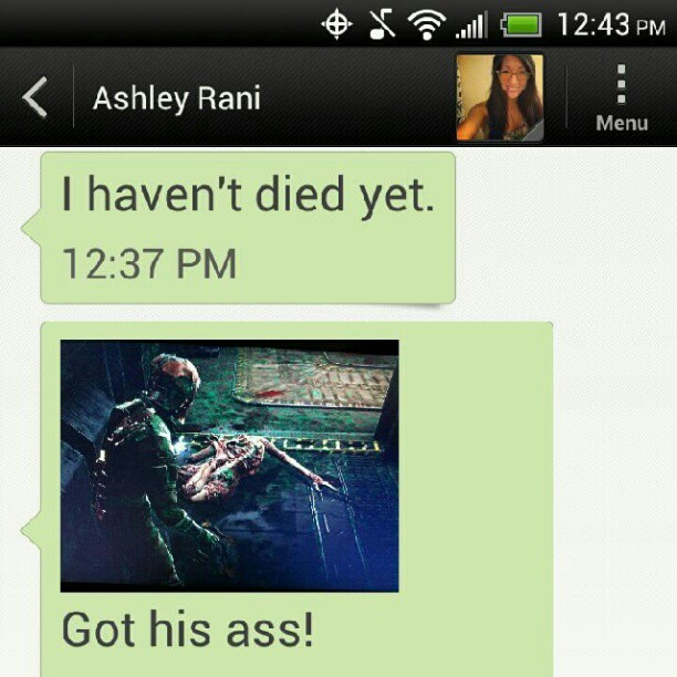 @ashleyrani My gf playing dead space > your gf     #gaming #deadspace #mygirlfriend  (Taken with Instagram)