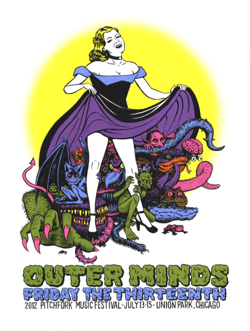 18x24 4 color screen printed poster for OUTER MINDS at the 2012 Pitchfork Music Festival. Available for a small fee here.