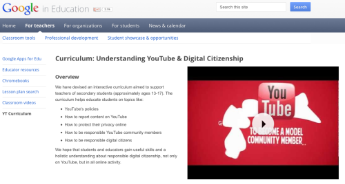 Google Launches a Digital Citizenship Curriculum for Teachers This is an outstanding resource. I highly recommend a closer look!  Lessons Below is a list of lessons, and the recommended flow for delivery. Lessons are designed to fit within 50 minute classes, but can be adapted to fit your schedule: What Makes YouTube Unique - Basic facts and figures (40 minutes) -  Teacher's Guide Lesson 1,Slides Lesson 1 Detecting Lies - (35 minutes) -  Teacher's Guide Lesson 2,  Slides Lesson 2 Safety Mode - (5 minutes) -  Teacher's Guide Lesson 3,  Slides Lesson 3 Online Reputation and Cyberbullying - (45 minutes) -  Teacher's Guide Lesson 4,  Slides Lesson 4 Policy - The Community Guidelines (20 minutes) -  Teacher's Guide Lesson 5,  Slides Lesson 5 Reporting content - Flagging (20 minutes) -  Teacher's Guide Lesson 6,  Slides Lesson 6 Privacy part 1 - (40 minutes) -  Teacher's Guide Lesson 7,  Slides Lesson 7 Privacy part 2 - (50 minutes) -  Teacher's Guide Lesson 8,  Slides Lesson 8 Copyright - (40 mins) -  Teacher's Guide Lesson 9,  Slides Lesson 9 Additional resources/Appendix including parent resources -  Teacher's Guide Additional Materials,  Slides Additional Materials Or you can download the Full Teacher's Guide or the Full Set of Slides in PDF.