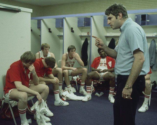 NCAA playoffs. Indiana coach Bobby Knight talks to his players during halftime of a game against Alabama in the 1976 NCAA Tournament. The Hoosiers would go onto win the title with Kent Benson taking home Most Outstanding Player honors. (Rich Clarkson/SI)