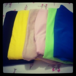 New pretty colored fabrics to get busy with! Will sleep now and start early tomorrow, goodnight ig lovies =) (Taken with Instagram)